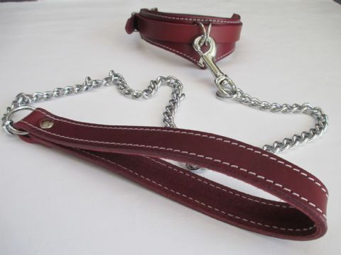 Oxblood Leather/Chianti Suede Lined Drop Front Design Collar and Matching Leash